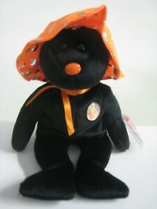"""New TY Pocus the Witch Bear with Orange Hat. Beanie Baby with Tags.  6 - 7"""""""