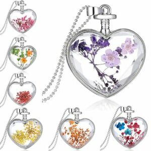 Charm-Silver-Natural-Real-Dried-Flower-Heart-Glass-Pendant-Necklace-Jewelry-New