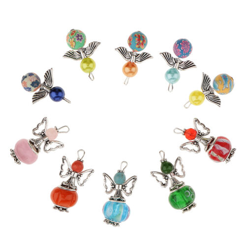 10 Round Beads Charms Dancing Angel Wings Pendants DIY Jewelry Craft 21x30mm