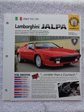 1983 Lamborghini Jalpa Brochure Specification Sheet