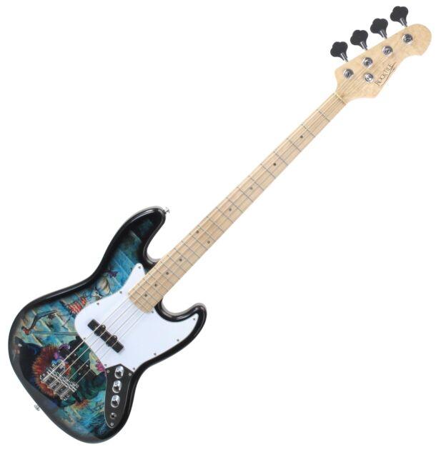 Graffiti Design Jazz E-Bass Bassgitarre 2 Single-Coil Tonabnehmer Linde Korpus