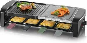 Severin-Raclette-Grill-Table-Grill-1400-Watt-NATURAL-GRILL-STONE-8-persons-Cast-Plate
