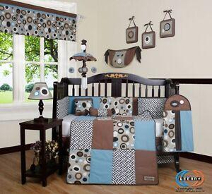 Baby Boutique Blue Brown Scribble Boy 13PCS Nursery CRIB BEDDING SET