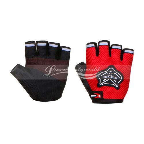Bike Bicycle Cycling Padded Half Finger Fingerless Gloves Red//Blue//Orange//Black