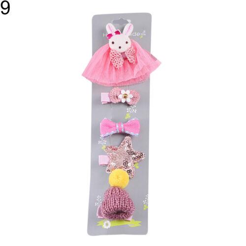 CG/_ EB/_ 5Pcs Cartoon Animal Crown Bow Kids Girl Princess Hair Clips Hairpin Head