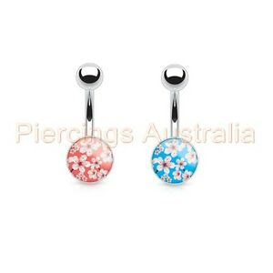 4 x Rose Ball Belly Button Bar Navel Rings Bulk Pack Body Piercing Jewellery