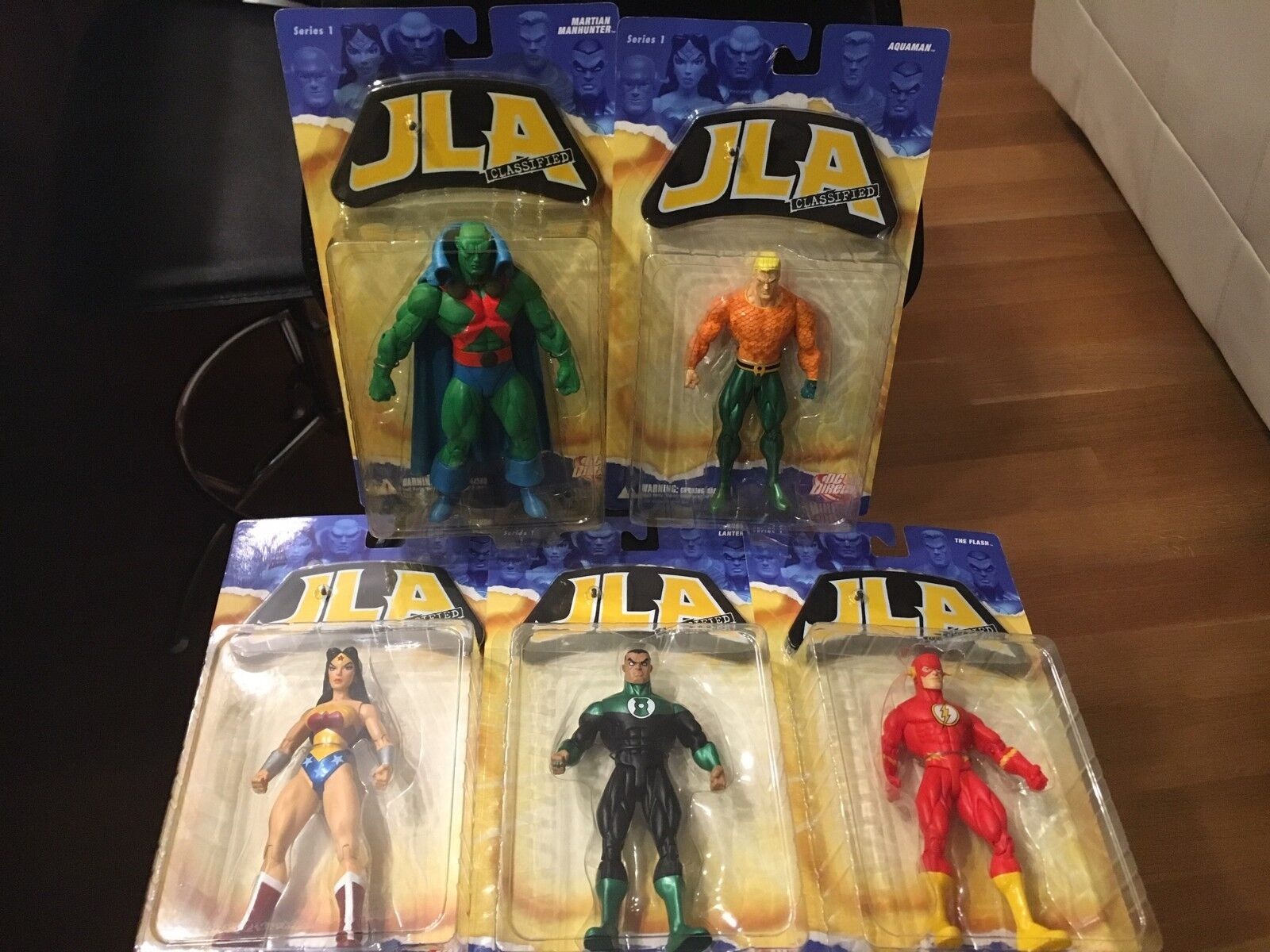 DC DIRECT JLA CLASSIFIED SERIES 1  FULL SET OF FIVE ACTION FIGURES MOC