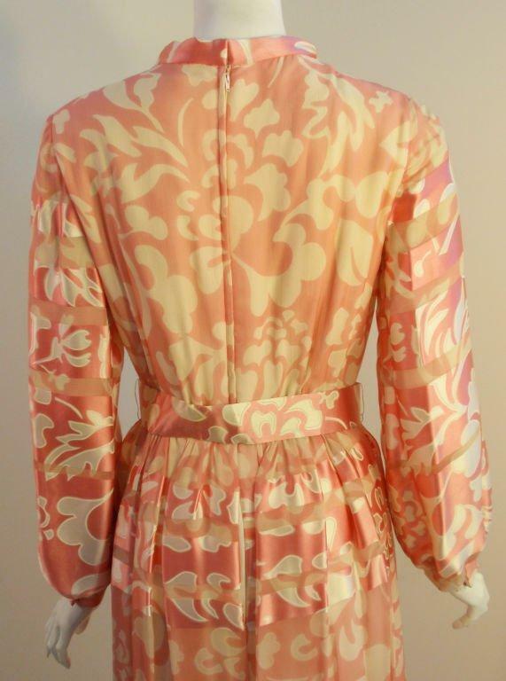 CEIL CHAPMAN 1960s Pink and White Silk Chiffon Go… - image 7