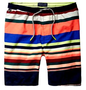 Scotch & Soda Men's Medium Length Colourful Swim Short, Combo a, Small