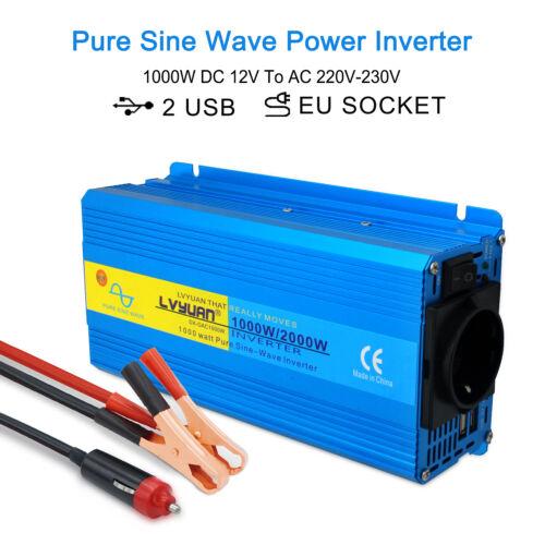 Spannungswandler 1000w 2000w Reiner Sinus Wechselrichter Inverter 12V auf 230V
