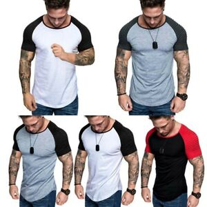 Men-Short-Sleeve-Casual-T-shirt-Muscle-Tee-O-Neck-Plus-Size-Cotton-Shirts-Tops