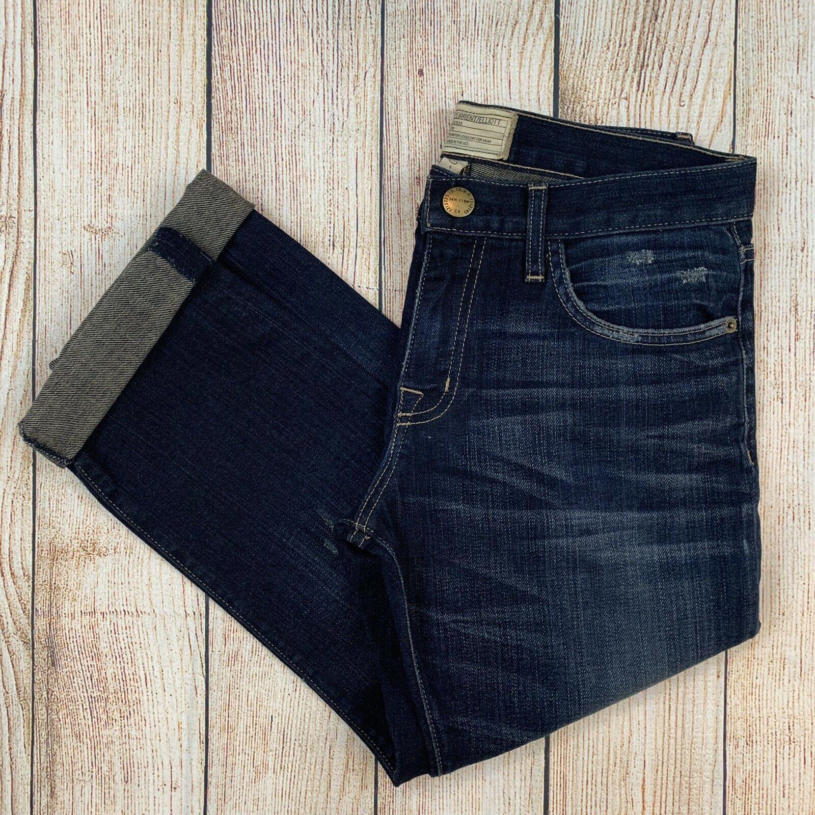 Current Elliott The Boyfriend Crop Denim Jeans Distressed Sidecar Destroy 24