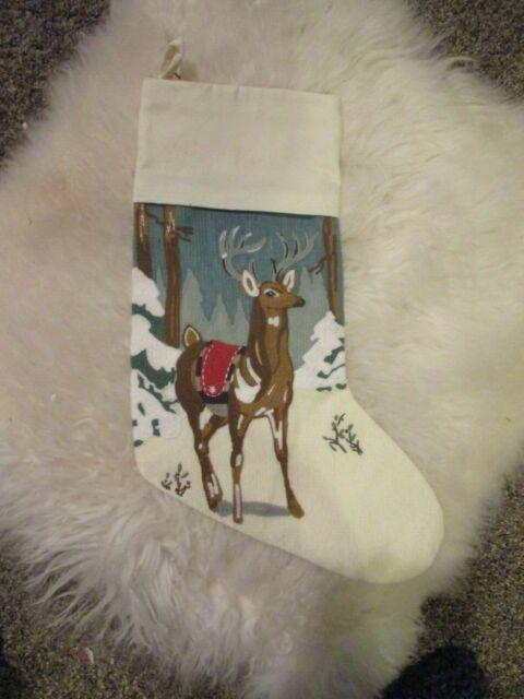 Pottery Barn Crewel Embroidered Stag Deer Christmas
