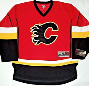 7ce25127324 NWT CALGARY FLAMES L XL MENS ADULT NHL HOCKEY JERSEY EMBROIDERED ...