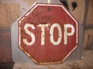 98d7669a047 Vintage Stop Sign Embossed 30in Heavy Steel Vintage Red Patina Man ...