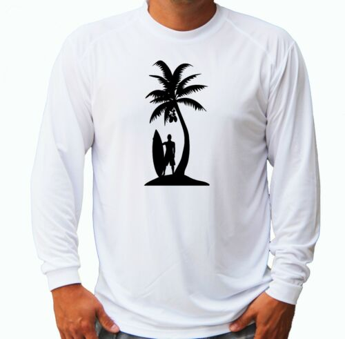 Surf Surfing Palm Tree Long Sleeve UPF 30 T-Shirt Boat Beach Sport UV Protection