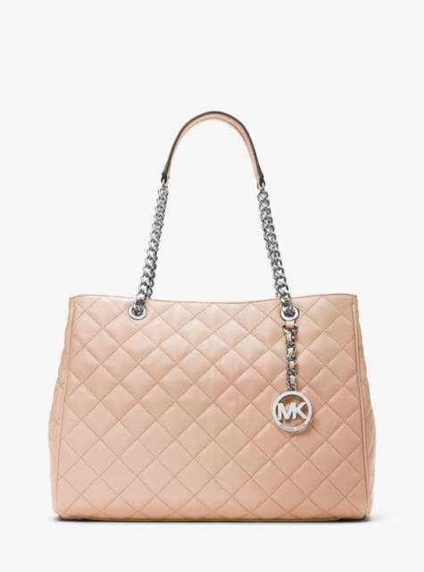 Michael Kors Susannah Large Quilted Lamb Leather Tote Bag Ballet