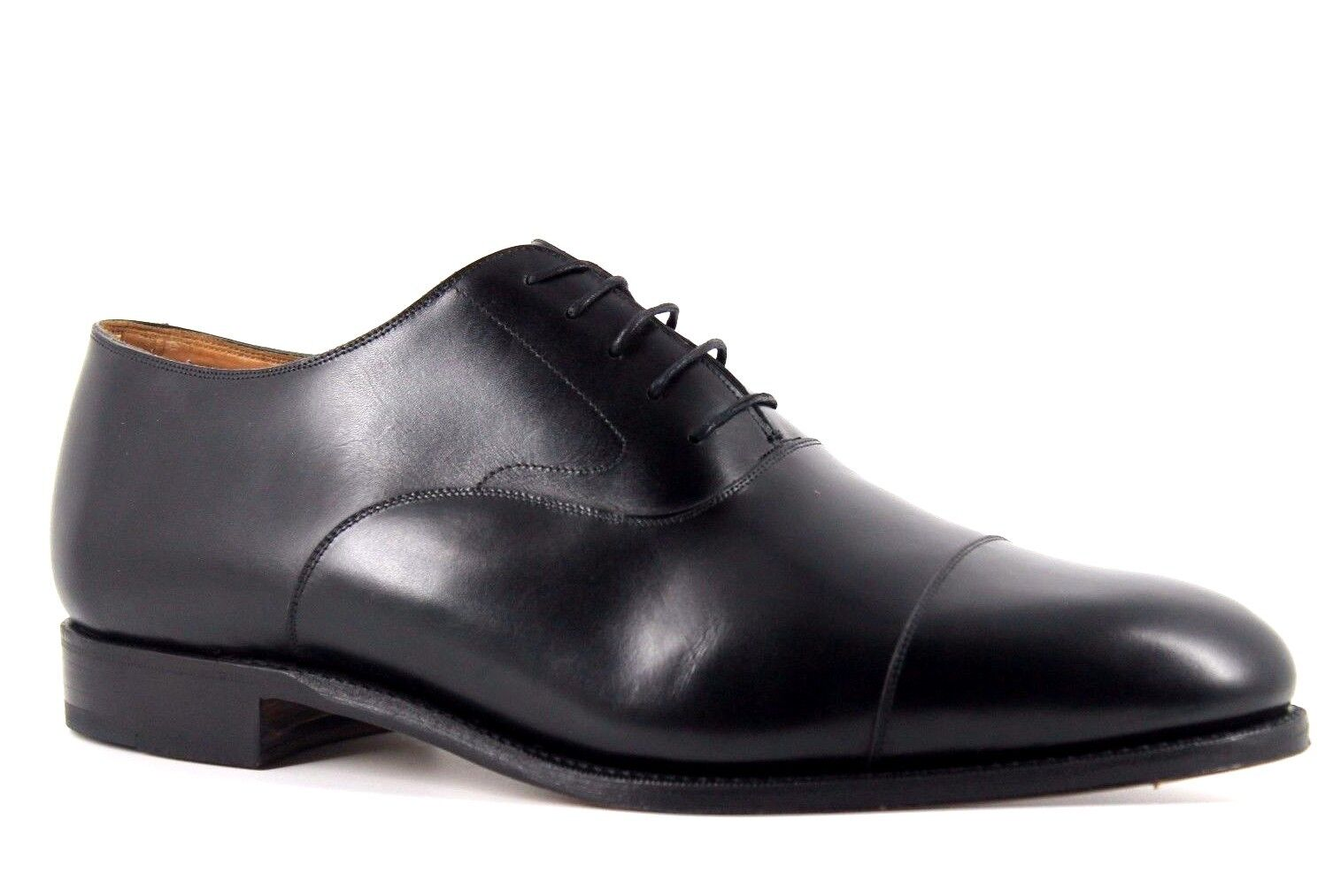 Meermin Hiro Mens UK 13 G Wide Fit Black Calf Leather Cap Toe Smart Oxford shoes
