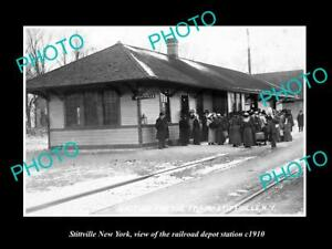 OLD-LARGE-HISTORIC-PHOTO-OF-STITTVILLE-NEW-YORK-THE-RAILROAD-DEPOT-STATION-1910