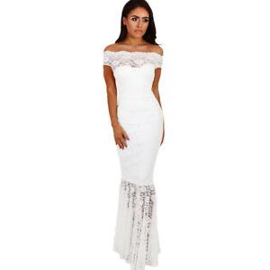 new concept 57cdb 62630 Dettagli su Elegante vestito abito lungo bianco pizzo evento tubino  scollato sirena 3982