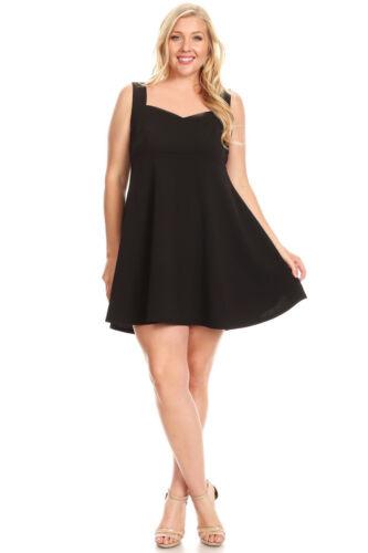 Womens 4XL Black Solid Fit /& Flare Sleeveless Skater Mini Dress! 16