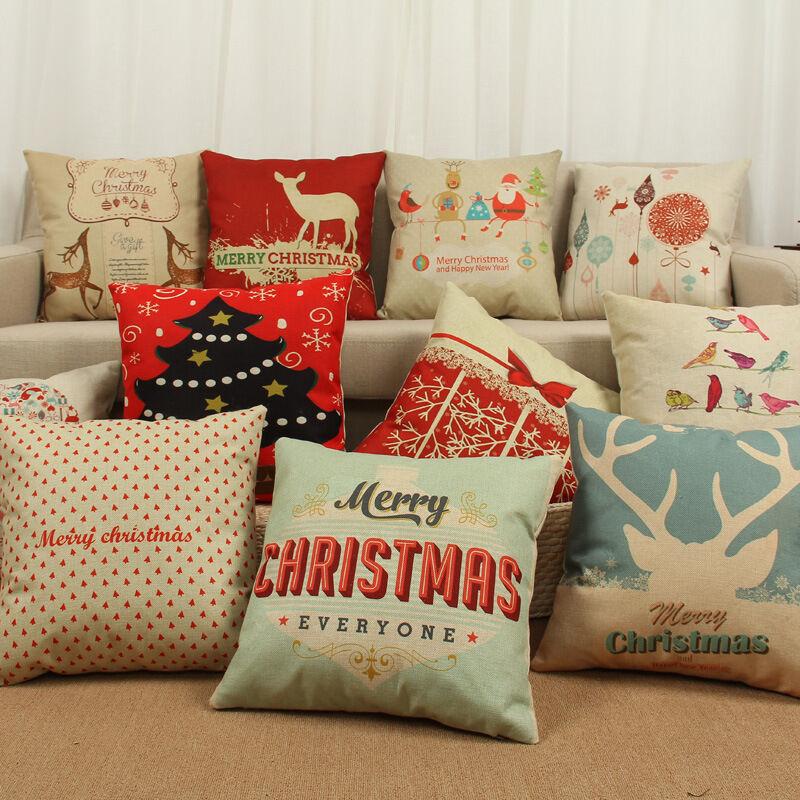 Christmas Xmas Linen Cushion Cover Throw Pillow Case Home: Merry Christmas Home Decor Square Throw Pillow Case