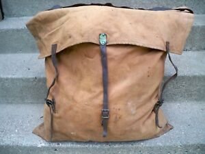1882-Duluth-PATENTED-Poirier-Pack-STRAP-Sack-BWCA-Vintage-Leather-Backpack-Bag