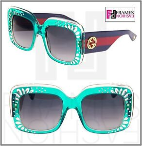 4689d63f69d Image is loading GUCCI-RHINESTONE-3862-Turquoise-Green-Blue-Red-Crystal-