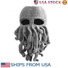 Octopus Mask Beard Hat Squid Tentacle Ski Cap Wool Knit Cosplay Cthulhu Beanie