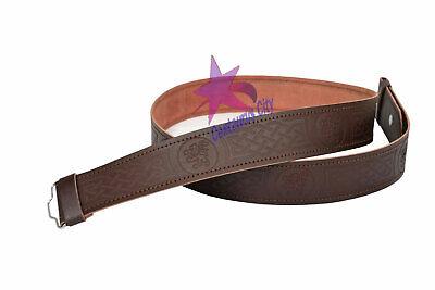 Amichevole Cc Cintura In Pelle Kilt Misura Regolabile Per Highland Marrone Leone Rampante