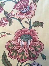 Fabric Vintage Cotton Scotch guard Yellow Mauve Periwinkle Jacobean 10 Yards