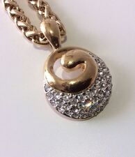 Beautiful Modernist Gold Plate M&S Chunky Link Chain Sparkling Diamante Pendant