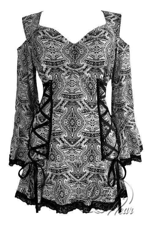 Dare to Wear Victorian Gothic Cold Shoulder Temptation Corset Top in Ibiza Weiß