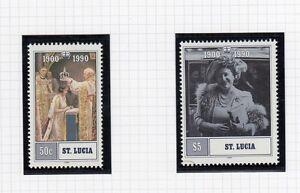 (74878) St Lucia Neuf Sans Charnière Reine Mère 90th Anniversaire 1990 Non Montés Mint-afficher Le Titre D'origine MatéRiaux De Haute Qualité