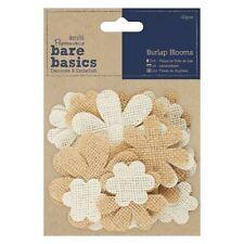 Papermania Bare Basics - Burlap Fabric Craft Embellishment Blooms - 40pcs