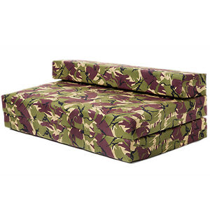 image is loading double sofa bed jungle camouflage z foam fold  double sofa bed jungle camouflage z foam fold out futon gaming      rh   ebay ie