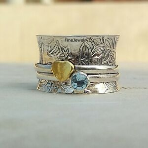 Blue-Topaz-Ring-925-Sterling-Silver-Spinner-Ring-Meditation-Handmade-Jewelry-A62