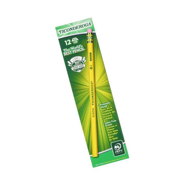 Dixon Ticonderoga Wood-Cased Graphite Pencils, #2 HB Soft, Yellow, 12 Count (...