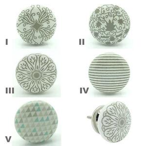 Succes Gris Ceramique Bouton De Porte Porcelaine Cuisine Poignee
