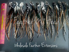 """25 Natural Cree Whiting Wide Feather Extensions With Fluff Extra Long  7""""-12"""""""