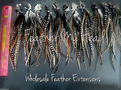 "25 Natural Cree Whiting Wide Feather Extensions With Fluff Extra Long  7""-12"""