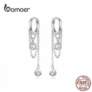 BAMOER-Fine-S925-Sterling-Silver-CZ-Stud-Earring-Puberty-Women-European-Jewelry