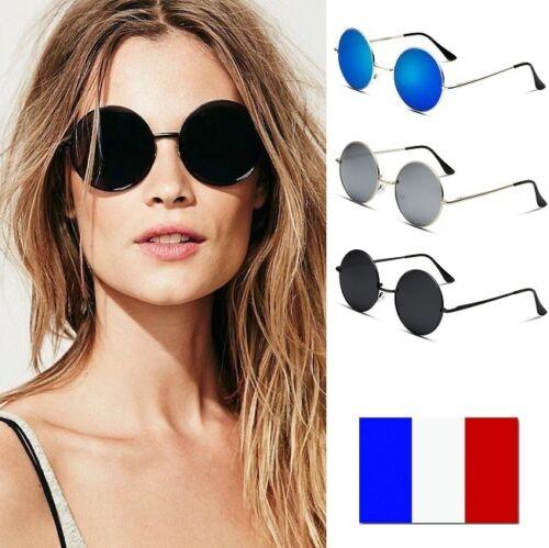 Lunettes de Soleil Homme Femme Ronde Hippy Vintage Rétro Protection UV400 48h