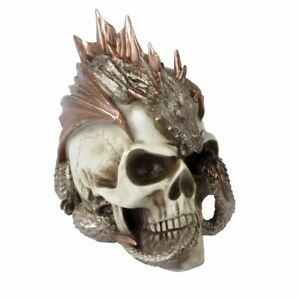 Alchemy-Gothic-Gold-Dragon-Keeper-039-s-Resin-Anatomical-Skull-Ornament