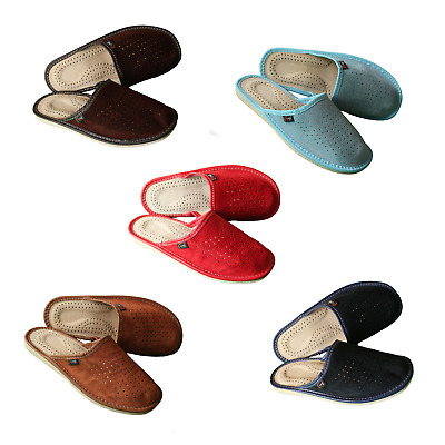 Mens Sheep Wool Ladies Leather House SlippersSize 3-8 UK Women/'s
