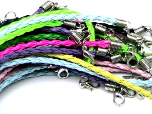 50 Mixed Braided Bracelet Cords Plaited Jewellery Cords /& Lobster Clasps T112