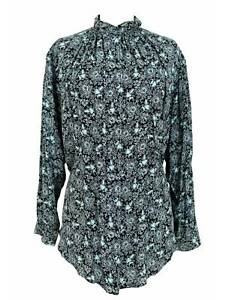 Max-Mara-Shirt-Vintage-Soft-Floral-Silk-Green-Black