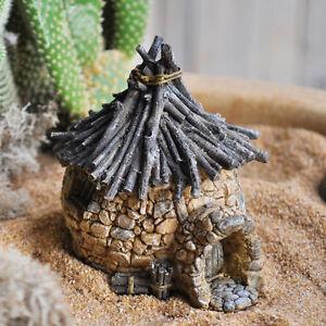 FAIRY-GARDEN-Miniature-Troll-Rock-House-With-Twig-Roof-Mini-Dollhouse