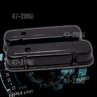 Black Steel Tall Valve Covers Fit 59-79 Pontiac 301 326 350 389 400 421 428 455