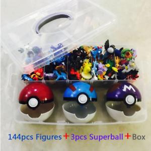 144 diferentes Styles 2.5-3cm 144 un. Caja de Figuras de acción de Hot Juguetes Anime Pokemons